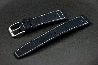 22mm IWC pilot風格航空飛行錶必備強力纖維錶帶top gun,真皮底,不鏽鋼錶扣==白色縫線==