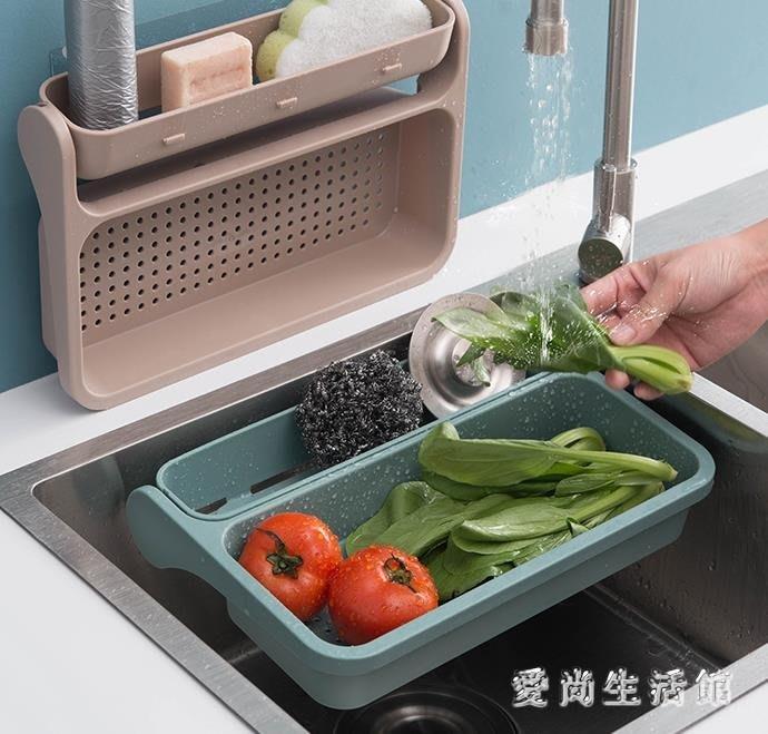 瀝水架廚房置物架壁掛免打孔水槽瀝水收納籃收納架用品用具 QX9851 『小橋人家』(可開立發票)