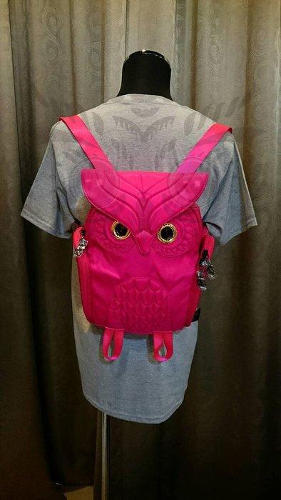 貓頭鷹後背包洋紅色(S) ,實品拍攝有店面,香港Morn Creations授權🌟最特別的禮物都在奧爾思🌟