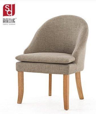 『格倫雅』簡域實木布藝靠背餐椅北歐簡約歐式餐廳會所單人椅子售樓部洽談椅^1721