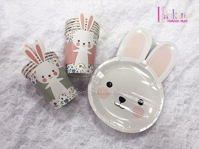 ☆[Hankaro]☆歐美創意派對布置道具兔子造型圖案套裝免洗餐具組