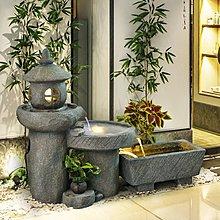 流水擺件 風水招財大型創意田園流水石磨擺件中式庭院魚池客廳小豬佩奇