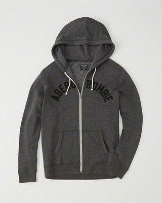 A&F真品Abercrombie&Fitch Logo Zip-Up Hoodie美式貼布連帽外套