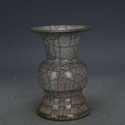 ㊣姥姥的寶藏㊣ 宋代哥窯手工瓷金絲鐵線花觚瓶  古瓷器古玩古董收藏博古擺件