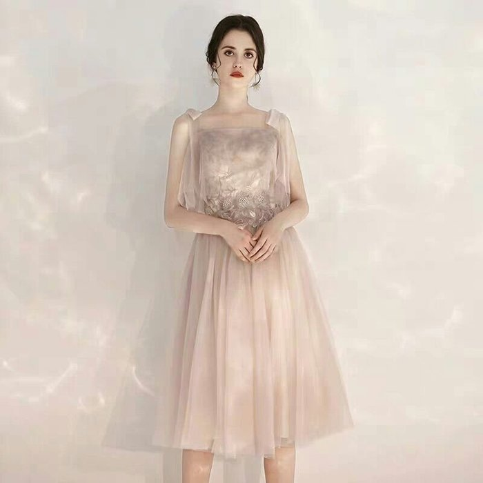 天使佳人婚紗禮服旗袍~~灰色蕾絲刺繡晚禮服