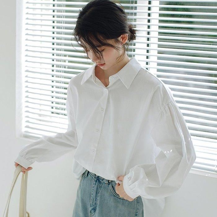 SeyeS  復古雜誌款基本百搭泡泡袖設計感白襯衫