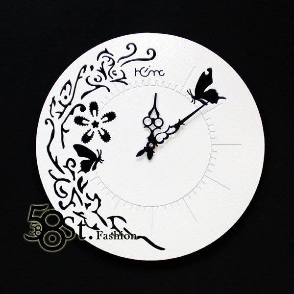 【58街】創意設計師款式「-風采蝴蝶裸空-粉末冶金超靜音掛鍾」金屬特殊鍾。AB-138