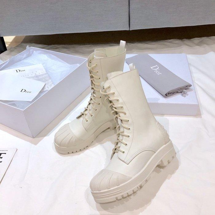 D家-Major系列系帶馬丁靴 貝殼頭中筒靴子 牛皮厚底短靴 女