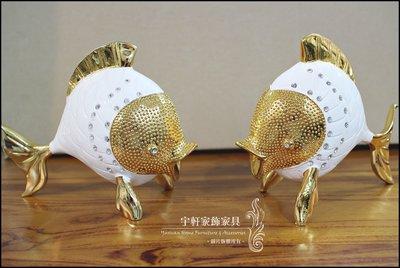 新古典金色銀色水鑽雙魚工藝品藝術品家飾...