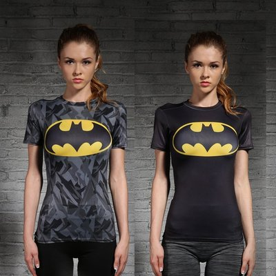 漫威英雄超人緊身衣女美國隊長運動健身跑步瑜伽訓練彈力緊身衣 運動健身服 運動t恤 短袖T恤  速幹吸汗 短T 短袖女T恤