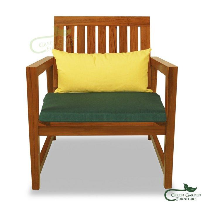 杜拜 柚木單人柚木沙發椅(含椅墊)【大綠地家具】100%印尼柚木實木/經典柚木/絕版出清/實木沙發
