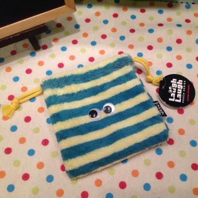 日本Cram Cream Laugh Laugh 可愛條紋毛絨束口袋 收納袋 相機包 化妝包 雜物包