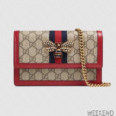 【WEEKEND】 GUCCI Queen Logo 蜜蜂 鍊條背帶 手拿 肩背包 紅色 18新款 476079