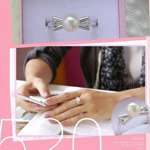 。☆凱希小舖☆。♥特價♥ 日本珍珠 鑽石純k金戒DSCN9605