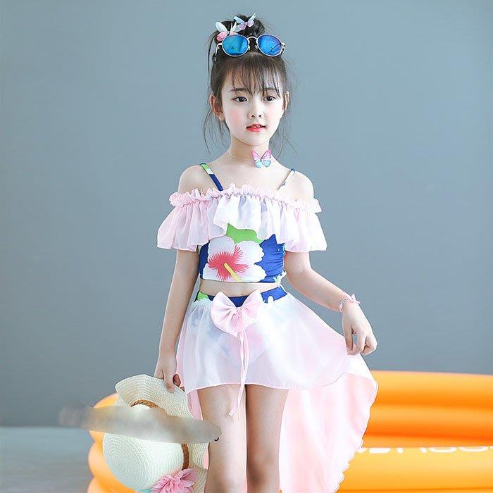 5Cgo【鴿樓】551596619856 女童泳衣比基尼分體公主女孩兒童泳裝美人魚服裝中大童童裝套裝