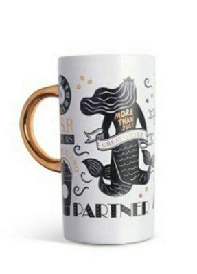 含運費1980元~STARBUCKS中國星巴克咖啡18週年紀念版金手把白色馬克杯-黑白藝術圖騰馬克杯(355ml)