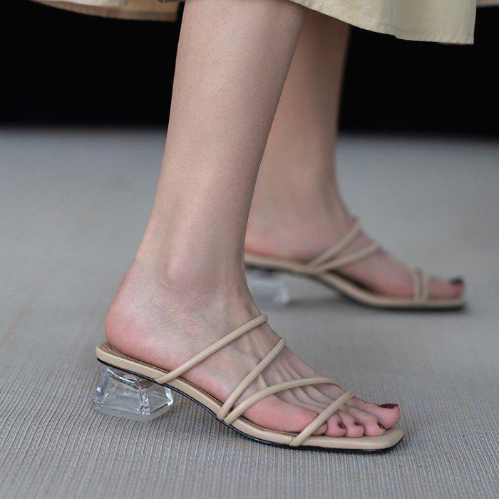 『Alice❤愛麗絲』羅馬水晶跟細帶涼拖鞋女外穿時尚中粗跟時裝夏季新款仙女涼鞋