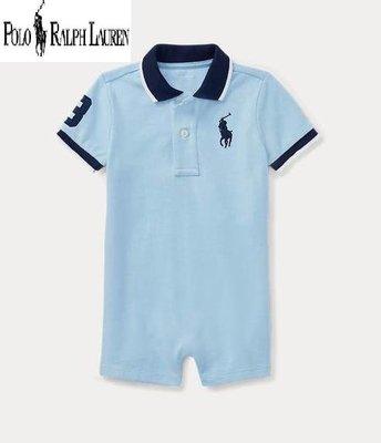美國正品 【Polo Ralph Lauren】繡大馬、數字3  淺藍色短袖連身裝 / 12M