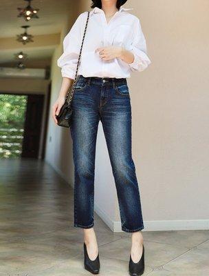 日單 新款 ONWARD 3D立體剪裁 手工水洗貓抓磨白 修飾腿型 半鬆緊腰身 直筒九分牛仔褲 (L1017)