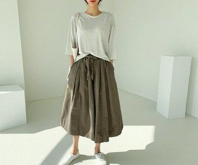 ☆Bubble Lady ☆ 【E196】 簡約鬆緊腰顯瘦寬鬆褲裙