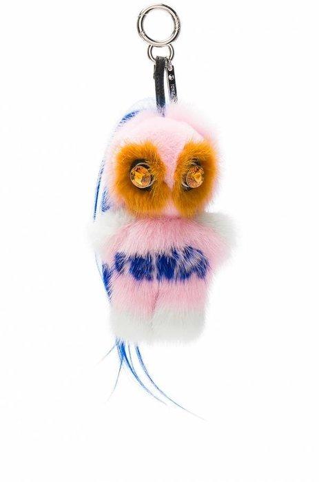 📦現貨在台💖專櫃52折☆全新真品FENDI Fendirumi 吉祥物 Piro-chan貂毛吊墜吊飾 粉