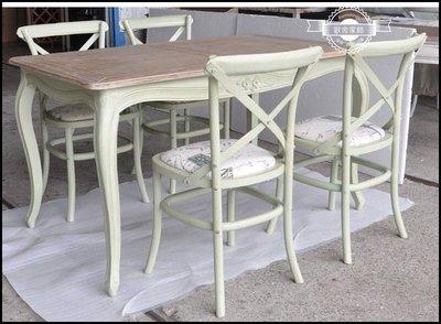 五尺原木復古綠/白雙色實木餐桌 雕花做...