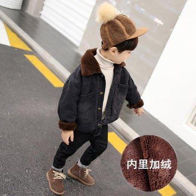 兒童牛仔外套童裝男童加厚外套冬裝新款兒童加絨牛仔衣秋冬寶寶洋氣上衣潮