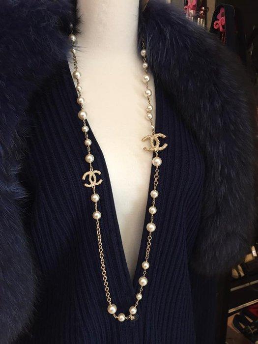典精品名店 Chanel 真品 珍珠 百搭 雙C 項鍊 現貨