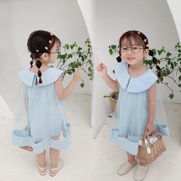 [C.M.平價精品館]120現貨出清特價/清新甜美別緻大翻領透明紗大襬水藍色無袖洋裝