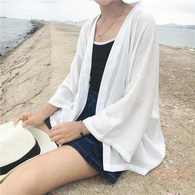 夏裝日繫和服寬鬆八分蝙蝠袖開衫百搭顯瘦薄款外套純色學生防曬衣   全館免運
