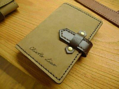 (KH手工皮件)全牛皮訂製手工護照套.台胞證可用.內層左右皆可放.硬挺設計.皮革顏色可自選免費燙字
