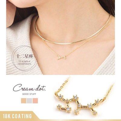 預購 日本 18K 鍍金 十二星座鑽飾鎖骨項鍊  一共有三個顏色可以選擇