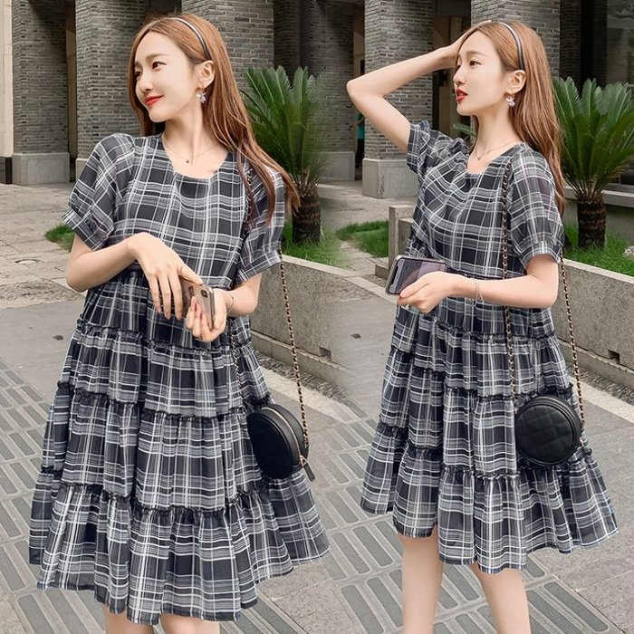 漂亮小媽咪 韓式 格子紋洋裝 【D7836】 格紋 短袖 雪紡裙 洋裝 孕婦裝