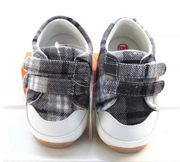 『※妳好,可愛※』寶貝學步鞋~~帥氣格紋風學步鞋~(灰色)