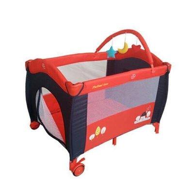貝比的家-Mother s Love雙層遊戲床(側邊拉鍊活動門、附玩具架、蚊帳、圖案隨機)-紅屋色-特價1590