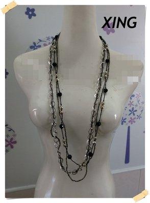 。XING【全新專櫃商品】亮銀色 時尚浪漫款黑角珠串珠菱形金屬環多鍊層次造型長版項鍊。F號