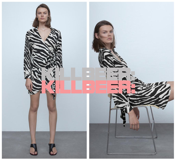 KillBeer:漂丿的都市名媛之 歐美復古性感搖滾風動物紋斑馬紋黑白撞色翻領綁帶垂墜感連身裙洋裝A080212