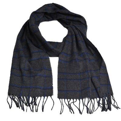 LANVIN en Blue 德國製經典格紋素雅造型圍巾(深灰色藍格)