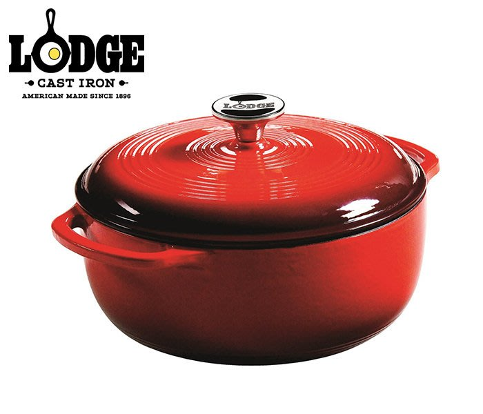 丹大戶外【LODGE】Enamel 4.6QT 琺瑯鑄鐵鍋 鑄鐵材質 香料紅 EC4D43