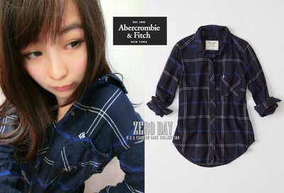 【零時差美國時尚網】A&F Abercrombie&Fitch Signature Flannel Shirt格紋襯衫藍