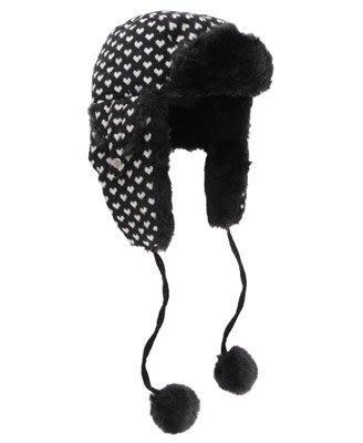 (BJGO) FOREVER 21_Ditsy Heart Trapper Hat 典雅心型毛毛捕手帽/飛行帽