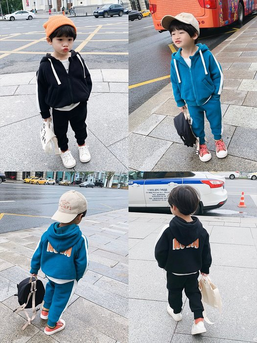 I ♥ MOM  2019新款# 男孩兒韓國版百搭加絨加厚保暖連帽休閒套裝  (預購)