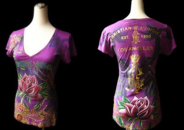 *Beauty* CHRISTIAN AUDIGIER 紫色水鑽圖騰 V領棉質短袖T恤 XS號