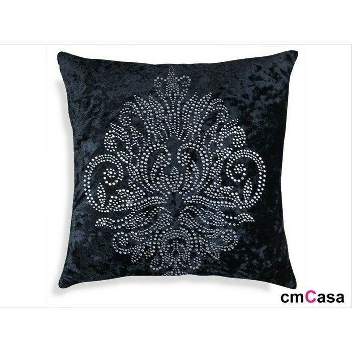 = cmCasa = [2980] 歐式簡約奢華設計 天鵝絨水晶花燙鑽抱枕套 質感新發行