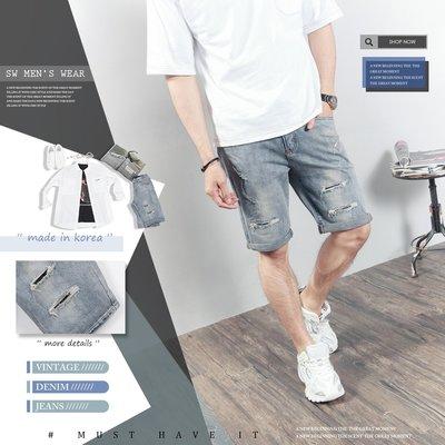 。SW。【K91695】正韓PES 韓國製 古著淺刷色 抽鬚內補丁破壞 挺實彈性單寧布 褲頭有彈性 牛仔短褲 英倫 GD