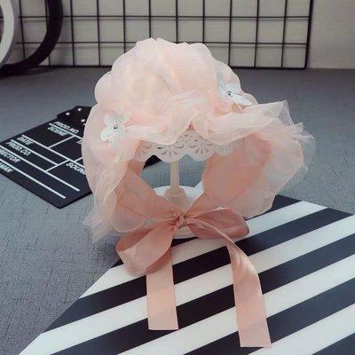嬰兒公主帽粉蕾絲雪紡