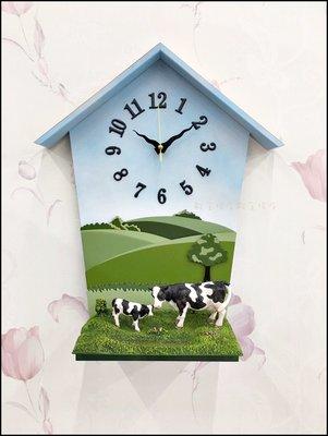 立體房屋農場乳牛造型壁鐘桌鐘兩用 可愛風木製動物掛鐘時鐘 靜音時鐘藝術造型鐘客廳鐘書房間營業場 促銷款【歐舍傢居】