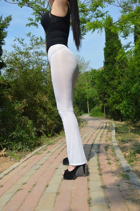 今生有約【B95】【性感透明牛奶絲開襠/不開襠長褲】緊身/微喇※光亮絲滑打底褲※男女適穿