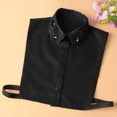 假領子 襯衫 領片-刺繡鑲鑽純棉純色女裝配件5款73va12[獨家進口][米蘭精品]