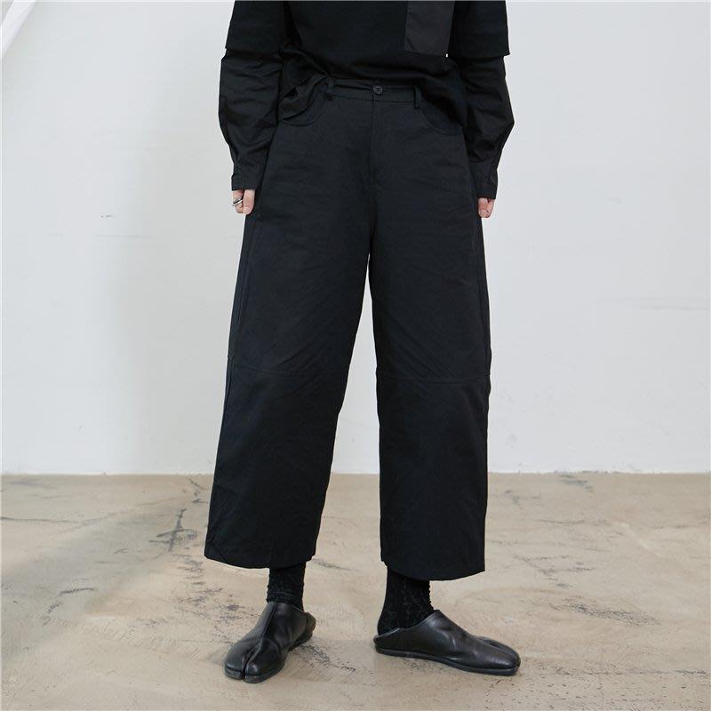 【鈷藍家】SU自制yohji風小眾山本暗黑寬褲百搭休閑兩色直筒褲九分褲